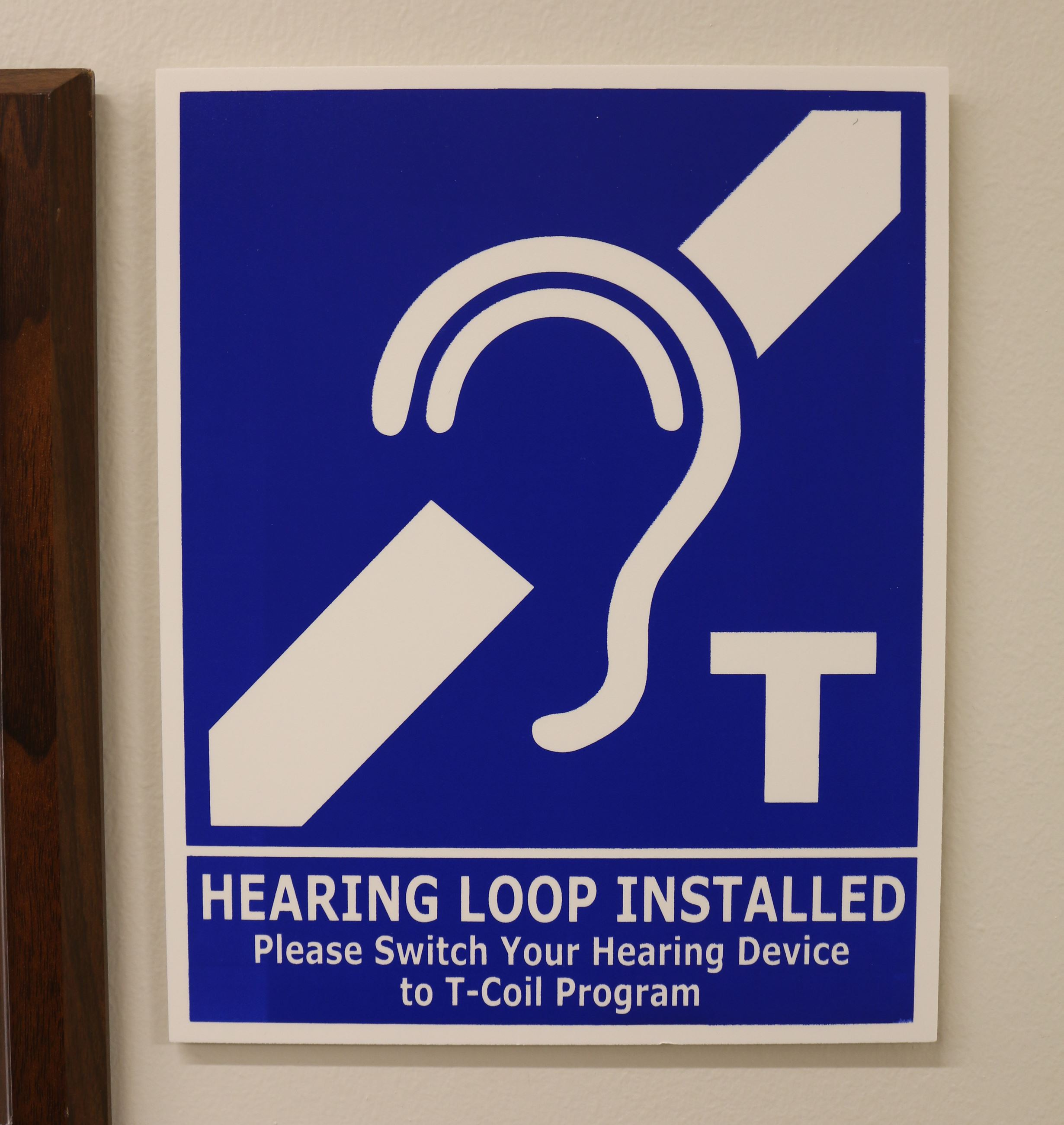 Hearing Loop photo 2 - Sign in Council chambers