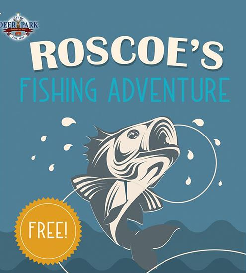 "Blue background with fish, Parks and Recreation's logo, and text that reads ""Roscoe's Fishi"
