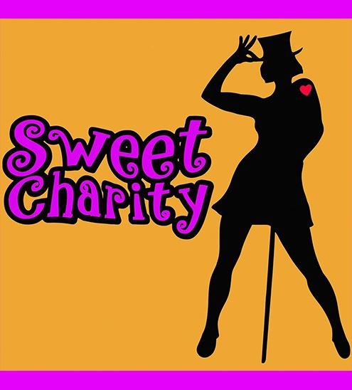 Silohoutte of women wearing top hat with text that reads &#34Sweet Charity&#34