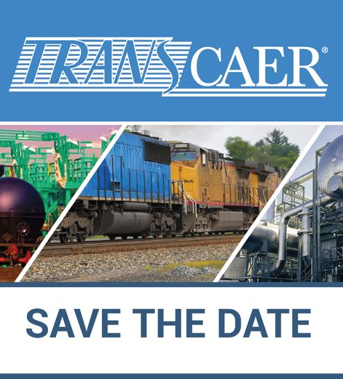 "Decorative. Text reads ""TRANSCAER - Save the date"" with railroad image"
