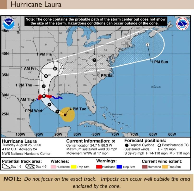 Hurricane Laura 4PM Tuesday